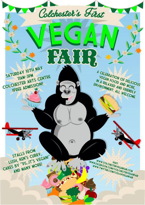 The Colchester Vegan Fair flyer in all its colourful glory!